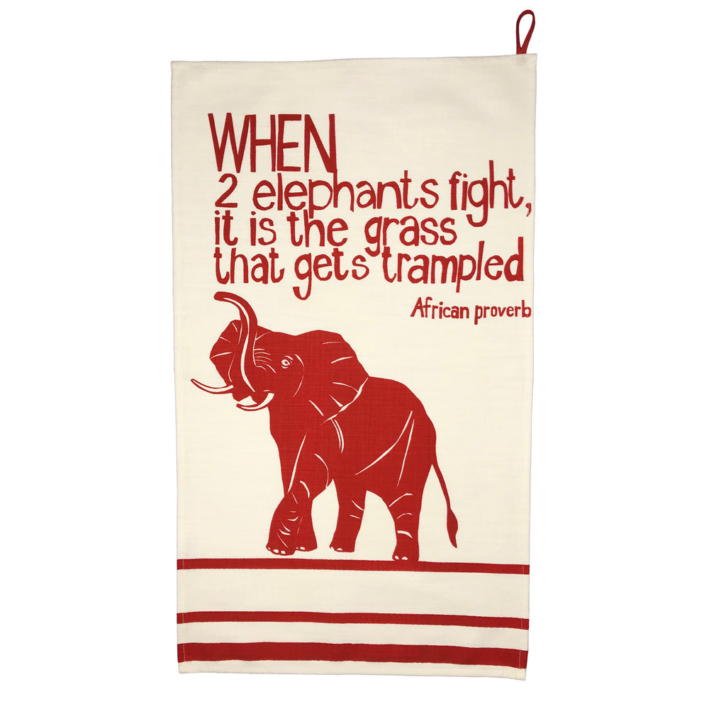 African Proverb Tea Towel - Elephants - Yda Walt