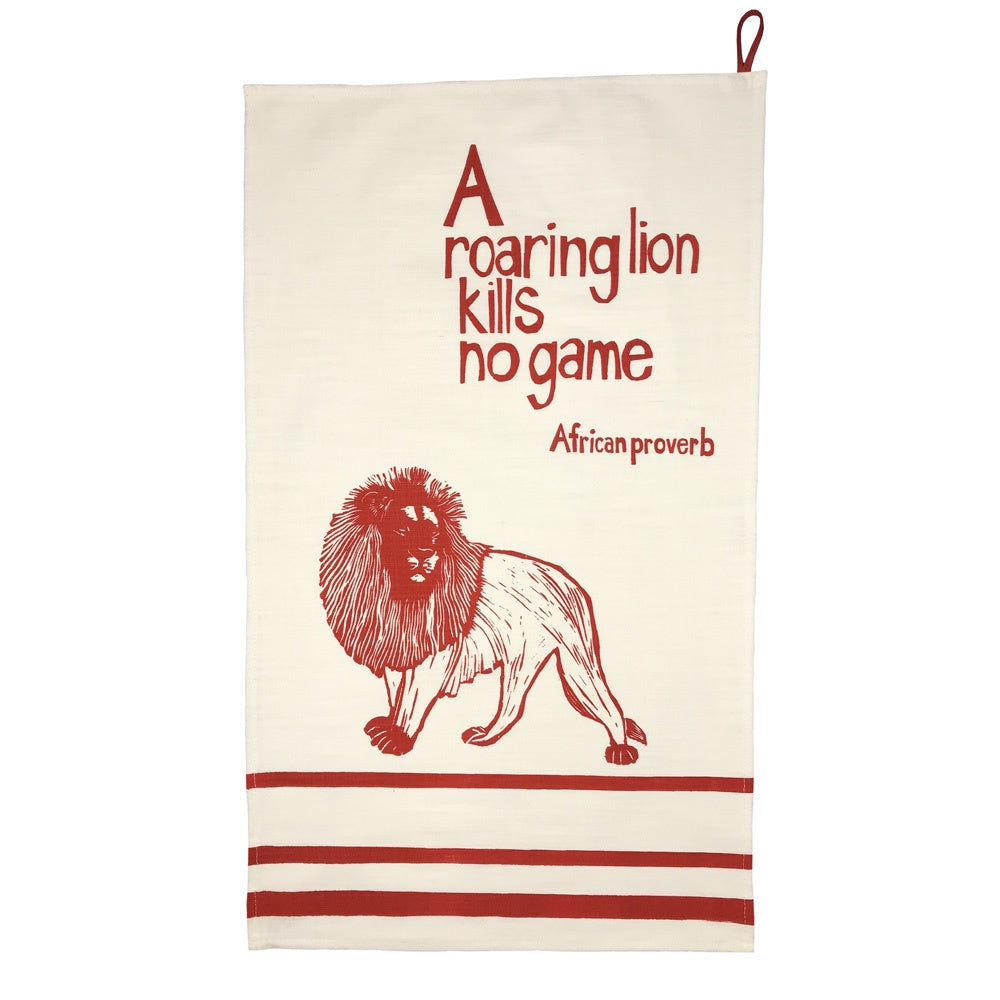 African Proverb Tea Towel - Lion