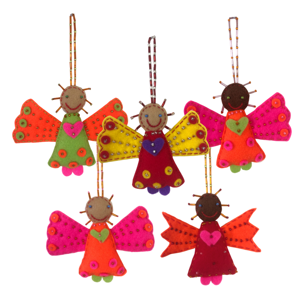 Colourful Angel Felt Decoration (5-pack)
