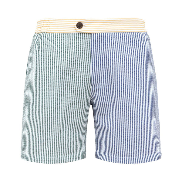 Multicoloured seersucker swim shorts