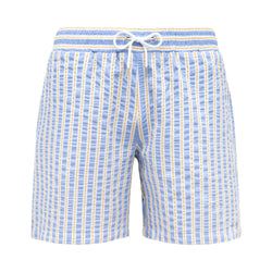 Blue & yellow seersucker swim shorts