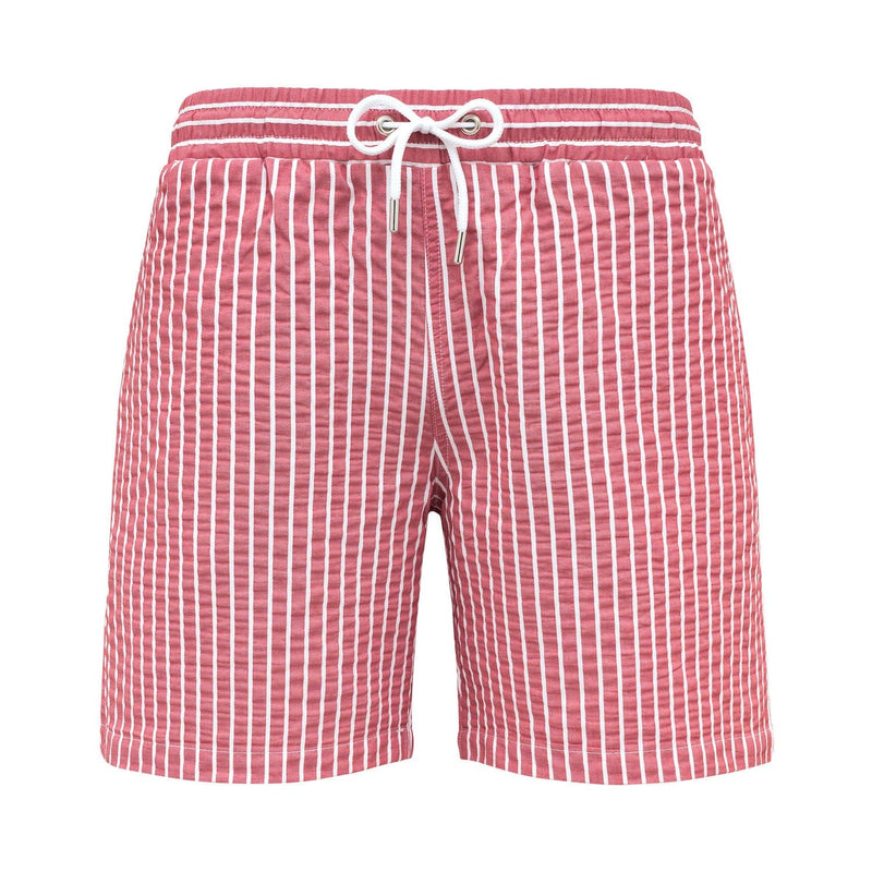 Red seersucker swim shorts