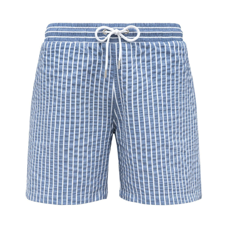 Blue seersucker swim shorts