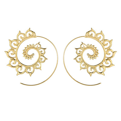 Stylish Gold Spiral Earrings