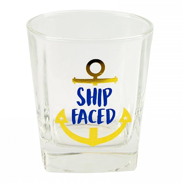 Ship Faced Tumbler Glass