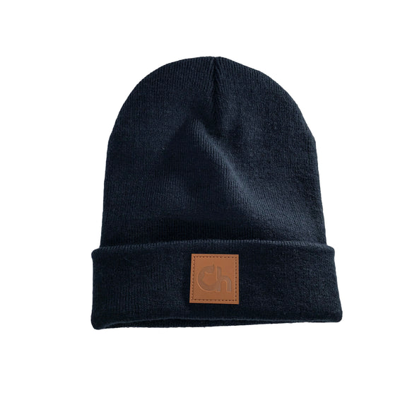 'Ch' Leather Patch Beanie - French Navy