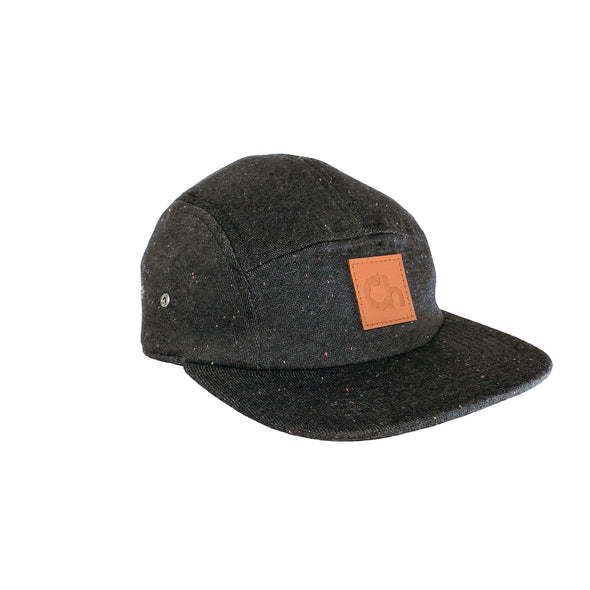 'Ch' Leather Patch 5 Panel - Speckled Charcoal