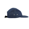 'Ch' Leather Patch 5 Panel Cap - Speckled Indigo
