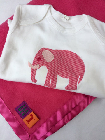 Baby Elephant Pink Sleepsuit with Candy Pink Blanket