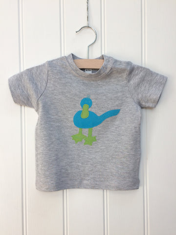 Baby Duck t-shirt for ages 3-24 months - grey melange - isabee.co.uk