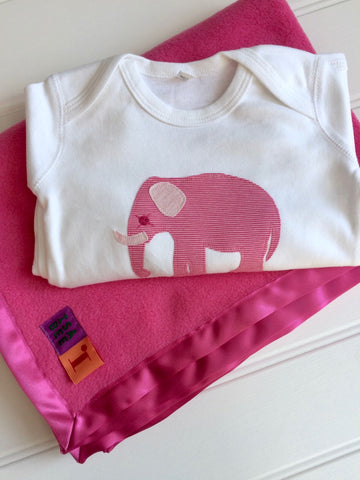 Newborn Set - Elephant Sleepsuit & Fleece Blanket - Pink
