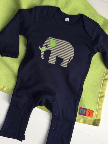 Baby Elephant Blue Sleepsuit with Apple Green Blanket