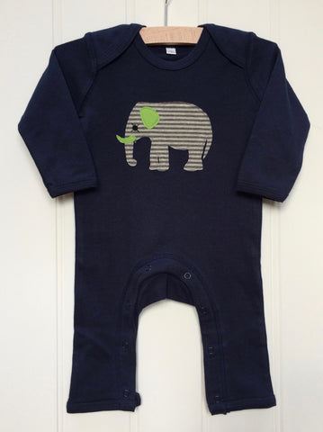 Baby Elephant Applique Sleepsuit - blue