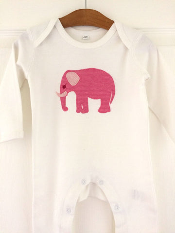 Baby Elephant Applique Sleepsuit - white