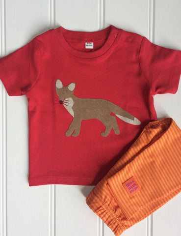 Isabee Baby Fox t-shirt (Red) - 100% Fairtrade cotton