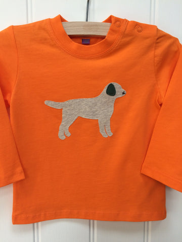 Isabee Baby Labrador long-sleeved t-shirt (Orange) - 100% organic cotton
