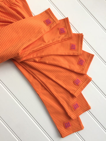 Stripy leggings in Orange for kids and babies - soft cotton jersey - isabee.co.uk