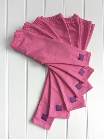Stripy leggings in Fine Stripe Pink for kids and babies - soft cotton jersey - isabee.co.uk