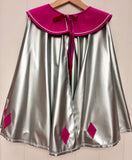 Queen Cape is a full-circle silver cape for kids  with fuchsia wool felt collar and diamond detail at the hem and fuchsia velvet ribbon neck tie. - isabee.co.uk