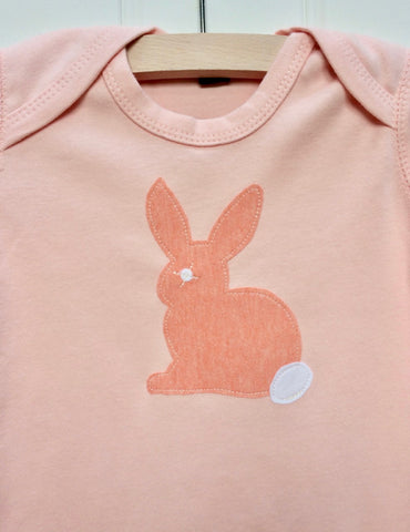 Baby Rabbit Applique Sleepsuit - powder pink