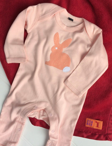 Baby Rabbit Powder Pink Sleepsuit with Red Blanket