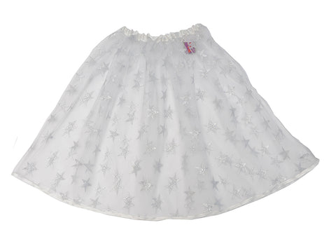 Silver tulle shirt with metallic silver stars and silver satin trim at the waist and hem. Easy wear elasticated waist. Available in two sizes for kids - short (ages 3.5 + years/ 43cm length) and long (ages 6+ years/ 60cm length). A perfect addition to the dressing-up box. Also available in Gold and Red. Handmade in the UK by Isabee.
