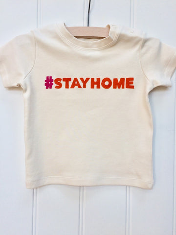 Baby #stayhome T-shirt - Natural White