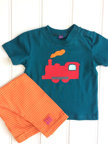 100% organic cotton baby t-shirt in teal with red applique train and orange steam. Shown with soft cotton pumpkin orange stripy leggings. Handmade by Isabee.co.uk