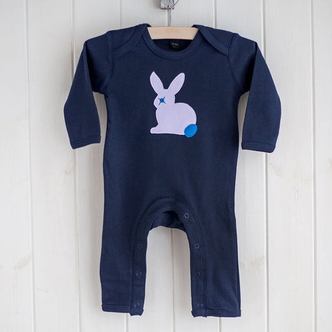 Baby Rabbit Applique Sleepsuit - lavander on blue
