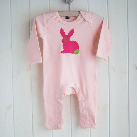 Baby Rabbit Applique Sleepsuit - coral on pink