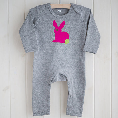 Baby Rabbit Applique Sleepsuit - bright pink on grey melange