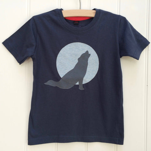 Wolf T-shirt - Washed Navy