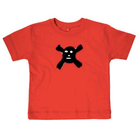 Red organic cotton T-shirt with a fearsome black scull and cross bones. T-shirt against a white background. - isabee.co.uk