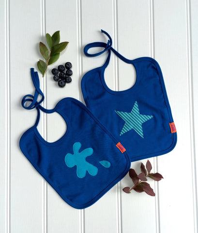 Splat and Star Bib Set - Blueberry