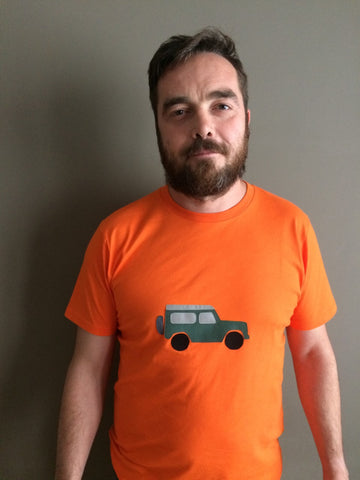 jeep Applique T-shirt - unisex/mens fit - Orange