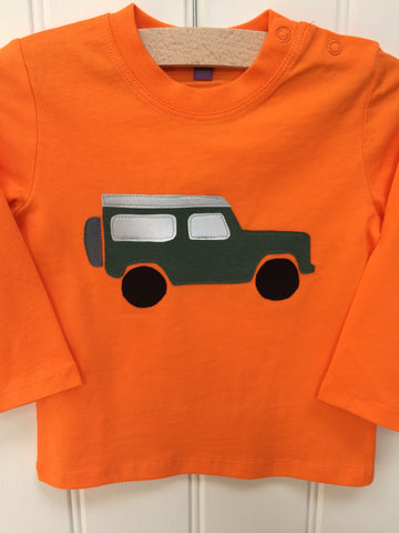 Baby jeep - long-sleeved organic cotton orange t-shirt for babies - isabee.co.uk