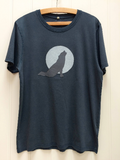 Wolf Applique T-shirt - unisex - Washed Navy