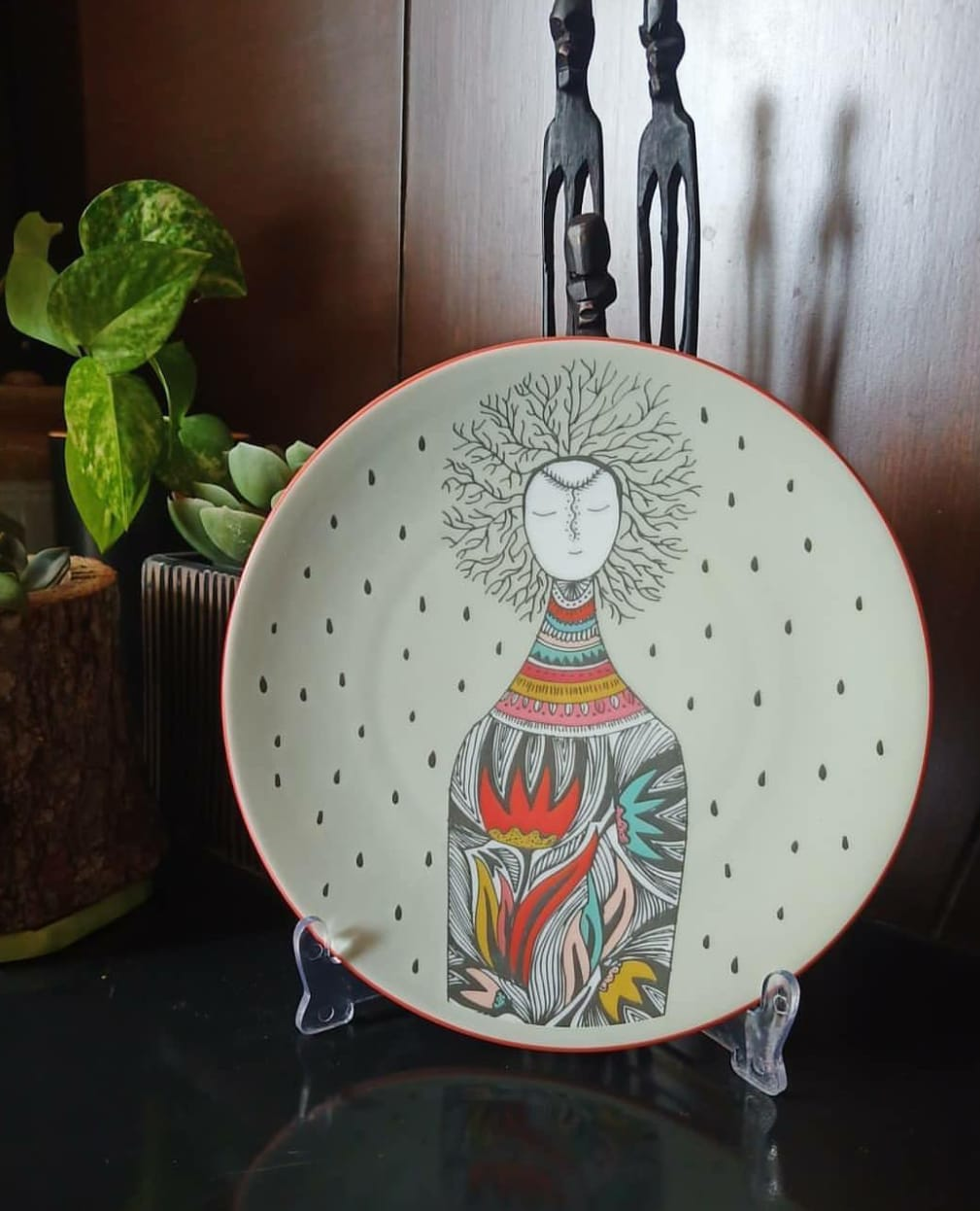 Color Bottle Lady - Decor Plate