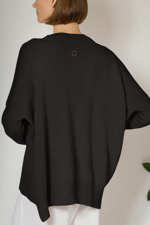 Aila Knitted Cashmere Pullover in Black