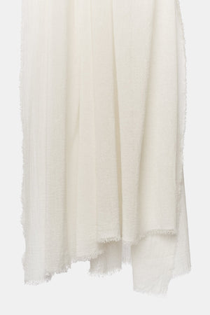 Esra Finely Woven Light Cashmere Throw Ivory