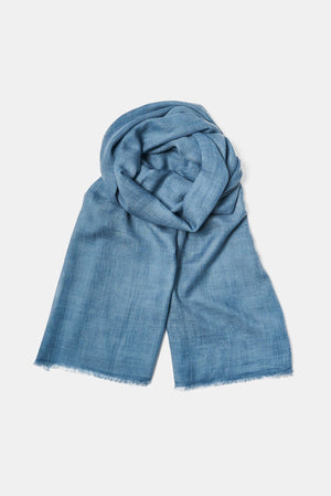 Imani Woven Luxury Cashmere and Silk Shawl in Blue