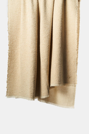 Kalin Woven Wool/Silk/Cashmere Throw in Beige