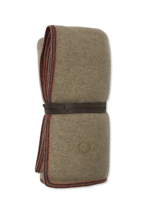 Toscani Versatile Framed Cashmere Travel Throw in Taupe