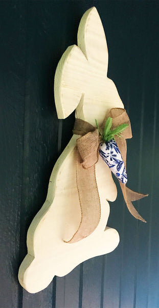 Spring Rabbit with Burlap Bow and Blues Stylized Carrot