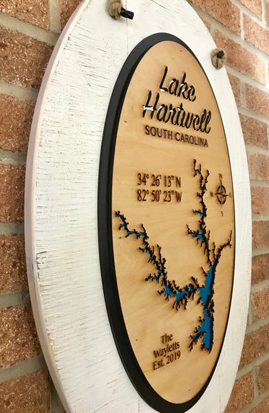 """Oval"" Laser Cut Lake Sign"