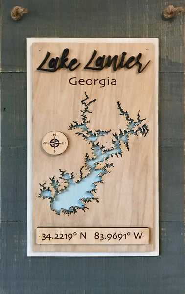 """Script"" Laser Cut Lake Sign"