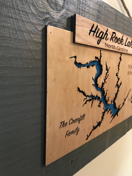 High Rock Lake Banner Laser Cut Lake Sign