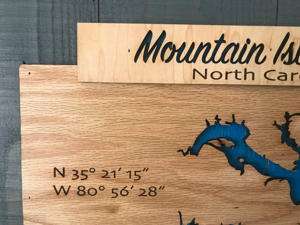 Mountain Island Lake Banner Laser Cut Lake Sign
