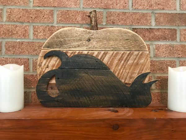 Reclaimed Wood Pumpkin and Black Cat