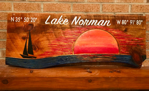 "Lake Norman Sign ""Sunset on the Lake 2"""